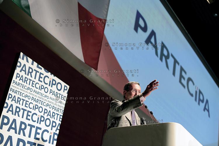 Roma, 28 Giugno 2014<br /> Palazzo dei Congressi<br /> L'ex presidente della Camera fondatore di Alleanza Nazionale Gianfranco Fini ha lanciato oggi il suo ritorno in politica con &quot;Partecipa&quot; l'associazione di destra che vuole di coinvolgere la societ&agrave; civile per &quot;L'Italia che vorresti&quot; e per chiedere &quot;La tua idea per la destra che non c'&egrave;&quot;.<br /> Former House Speaker Gianfranco Fini founder of the National Alliance today launched his political comeback with &quot;partecipa&quot;, &quot;Join&quot;, the association that seeks to involve civil society &quot;that Italy would like&quot; and to ask &quot;Your idea for the right that does not exist &quot;