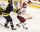 Clayton Jardine (Merrimack - 21), Johnny Gaudreau (BC - 13) - The Boston College Eagles defeated the Merrimack College Warriors 4-2 to give Head Coach Jerry York his 900th collegiate win on Friday, February 17, 2012, at Kelley Rink at Conte Forum in Chestnut Hill, Massachusetts.