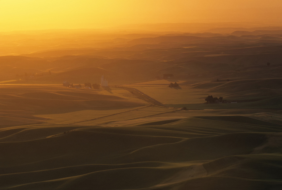 Warm orange light fills the air as the sun falls below the horizon on a dust-filled day in the Palouse of Eastern Washington State.