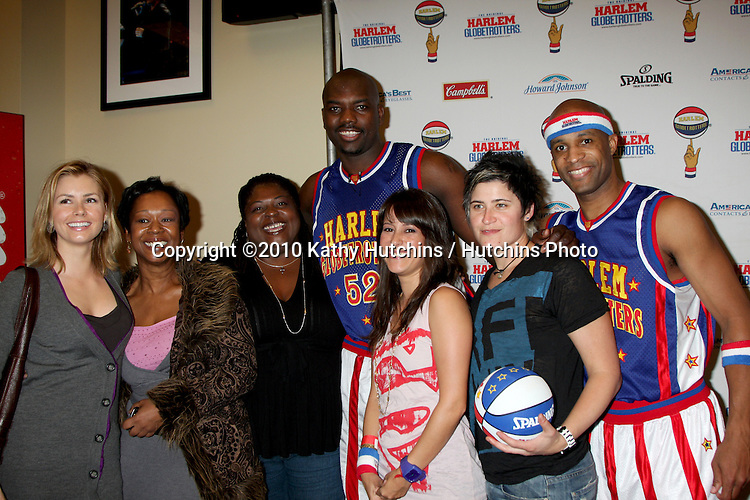 Brianna Brown, Sonja Eddy & Friend, Flight Time & Big Easy, Kimberly McCullough & Stef Z.at the Harlem Globetrotters Game .Staples Center.Los Angeles, CA.February 14, 2010.©2010 Kathy Hutchins / Hutchins Photo....