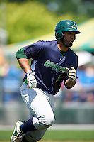 Vermont Lake Monsters first baseman Miguel Guzman (3) runs to first base during a game against the Auburn Doubledays on July 13, 2016 at Falcon Park in Auburn, New York.  Auburn defeated Vermont 8-4.  (Mike Janes/Four Seam Images)