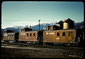 Caboose's# 0574, #0589, #0585 - Salida.  Twin tanks in background.<br /> D&amp;RGW  Salida, CO