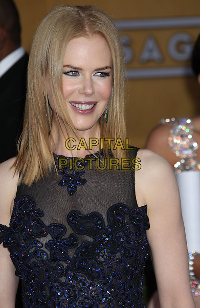 Nicole Kidman Urban.Arrivals at the 19th Annual Screen Actors Guild Awards at the Shrine Auditorium in Los Angeles, California, USA..27th January 2013.SAG SAGs headshot portrait black blue lace sheer sleeveless .CAP/ADM/RE.©Russ Elliot/AdMedia/Capital Pictures.