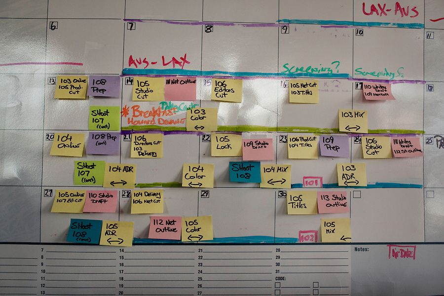 "CREDIT: Daryl Peveto / LUCEO ..Los Angeles, California, September 28, 2010 - Post-it Notes marking events line a white board calendar for ABC Television's mockumentary My Generation creator and Executive Producer, Noah Hawley in his office in the Clune Bldg. at Raleigh Studios in West Hollywood. He says that the system works great for him, ""until one they start falling off behind the couch."".."