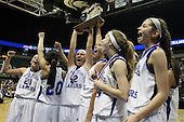 The Waterford Our Lady of the Lakes basketball team celebrate winning their third consecutive Class D state championship with the Lakers faithful at the Breslin Center Saturday, March 17, 2012.