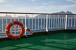 Lofoten Islands, Nordland, northern Norway from  'Nordlys' Hurtigruten ferry ship with life saving bouyancy ring