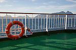 Lofoten Islands, Nordland, northern Norway from  'Nordlys' Hurtigruten ferry ship with life saving bouyancy ring