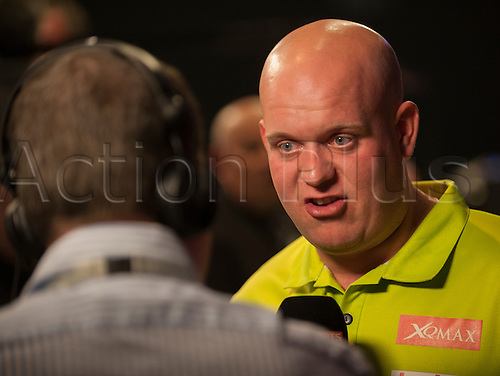 07.04.2016. The Sheffield Arena, Sheffield, England. Betway PDC Premier League Darts. Night 10.  Michael van Gerwen [NED] is interviewed after their match