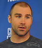 Johnny Boychuk of the New York Islanders speaks with reporters at the Long Island Marriott in Uniondale on Thursday, Sept. 22, 2016.