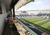 View from the press box before the first MLS match at PPL stadium in Chester, Pa. on June 27 2010. Union won 3-1.