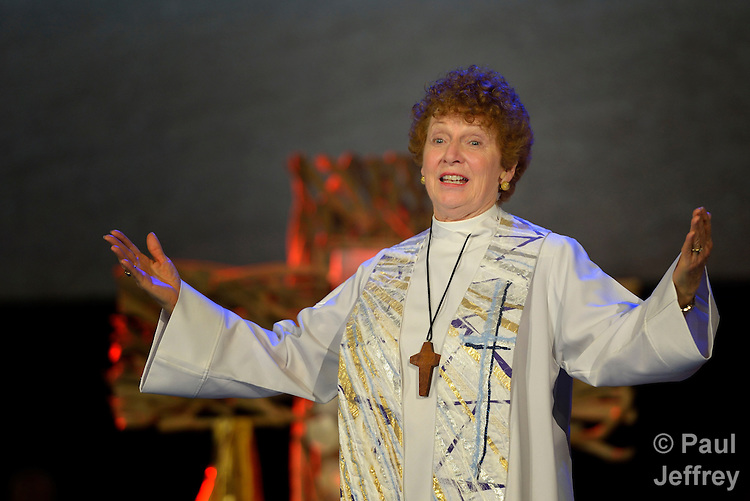 United Methodist Bishop Jane Middleton gives the benediction at the May 2 worship service commemorating the denomination's bishops who have died in the last four years. The service took place at the 2012 United Methodist General Conference in Tampa, Florida.