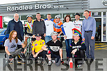 Cyclists who completed the Oldvelos cycle were welcomed back at Randles Bros. on Sunday front row l-r: Dann Nowothy, Pete Landy, Mick Fagin, Tomas Kaps. Back row: Alan Rushton, Alan Couszer, David Randles, Brendan Hennessy, John piggot, Eileen Scully, Niall McCormack and John Scully