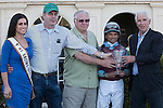 Trainer of Spot, Nick Zito(right) and connections after winning the Swale(G2). Gulfstream Park, Hallandale Beach Florida. 02-01-2014