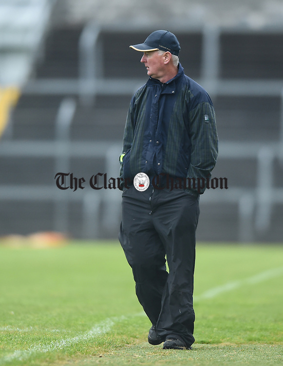 Cratloe manager Joe Mc Grath on the sideline against Ballyea during their match in Ennis. Photograph by John Kelly.