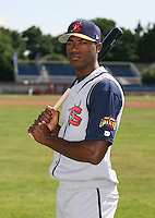 2007:  Marcus Davis of the State College Spikes poses for a photo prior to a game vs. the Batavia Muckdogs in New York-Penn League baseball action.  Photo By Mike Janes/Four Seam Images