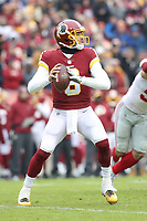 Landover, MD - December 9, 2018: Washington Redskins quarterback Mark Sanchez (6) attempts a pass during the  game between New York Giants and Washington Redskins at FedEx Field in Landover, MD.   (Photo by Elliott Brown/Media Images International)