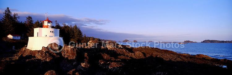 Amphitrite Point Lighthouse near Ucluelet, BC, on West Coast of Vancouver Island, British Columbia, Canada - Panoramic View