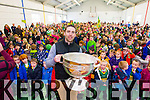 Marc O'Se pictured at the Sam Maguire cup at Scoil Eoin Tralee on Thursday.