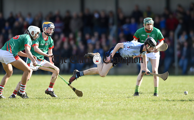 Ronan Hayes of Scariff Community College goes flying in action against St Fergal's College during their All-Ireland Colleges final at Toomevara. Photograph by John Kelly.