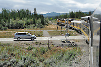 The Alaska Railroad's Denali Star train crosses the Denali Park road as it nears the Denali Depot.