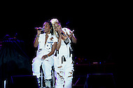 "Largo, MD - July 12, 2014: Rozonda ""Chilli"" Thomas and Tionne ""T-Boz"" Watkins, of the Grammy award winning group TLC, performs at the 1st annual International Festival at the Largo Town Center in Largo, MD, July 12, 2014. The group is known for its hit songs ""Creep"" and ""Scrubs."" (Photo by Don Baxter/Media Images International)"