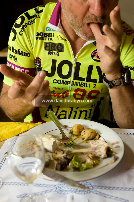 Writer David Darlington, participating in a Backroads cycle tour of the Loire Valley, has lunch at the Chateau de Nitray in Athee-sur-Cher, France, 25 June 2008.