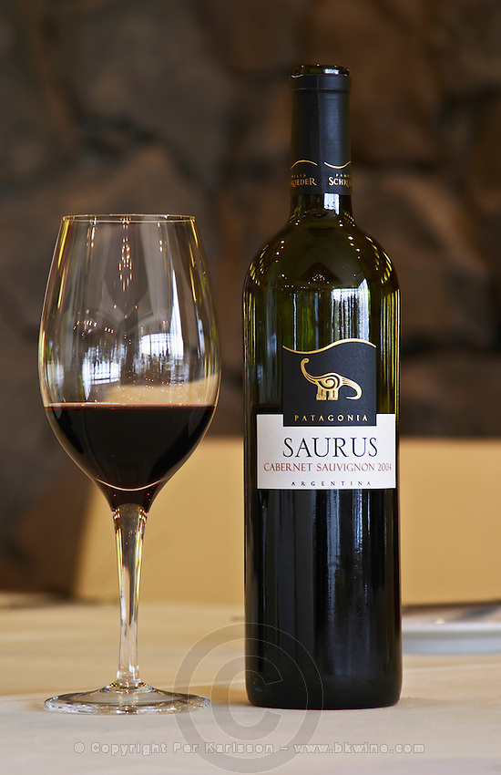 Bottle and glass of Saurus Patagonia Cabernet Sauvignon Bodega Familia Schroeder Winery, also called Saurus, Neuquen, Patagonia, Argentina, South America