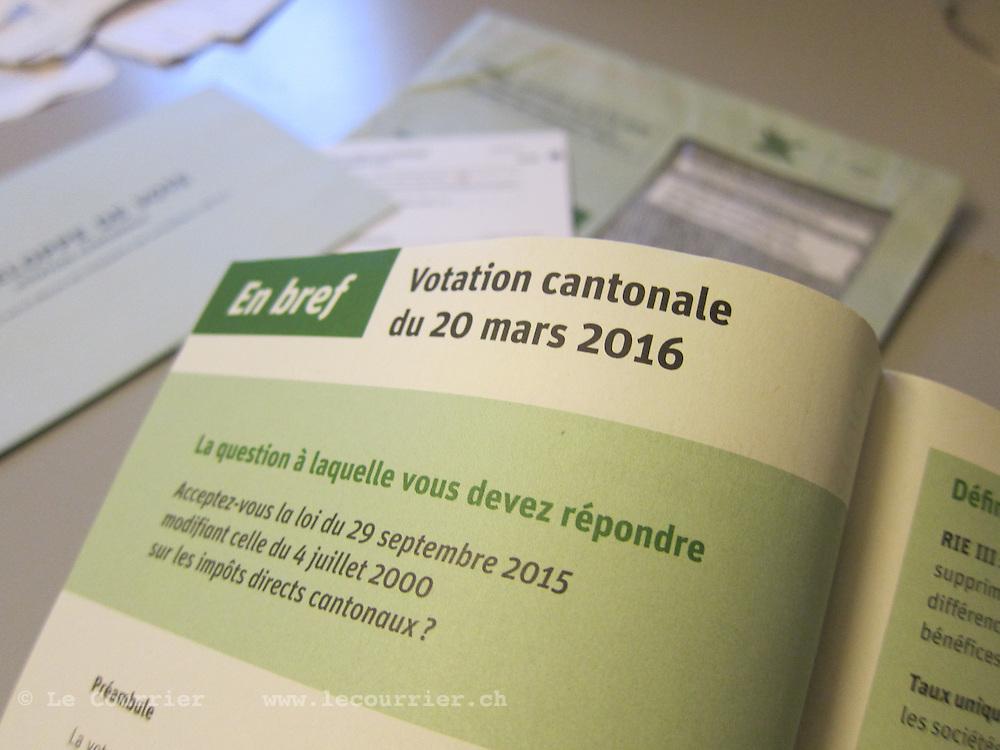 Lausanne, 01.03.2016<br /> Brochure de votation RIE III, r&eacute;forme de la fiscalit&eacute; des entreprises<br /> &copy; Mario Togni / Le Courrier