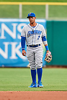 Ramon Torres (2) of the Omaha Storm Chasers on defense against the Salt Lake Bees in Pacific Coast League action at Smith's Ballpark on May 8, 2017 in Salt Lake City, Utah. Salt Lake defeated Omaha 5-3. (Stephen Smith/Four Seam Images)
