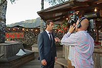 Austria, Kitzbuhel, Juli 15, 2015, Tennis, Davis Cup, Dutch team, Official dinner, Jean-Julien Rojer being interview bij TV<br /> Photo: Tennisimages/Henk Koster