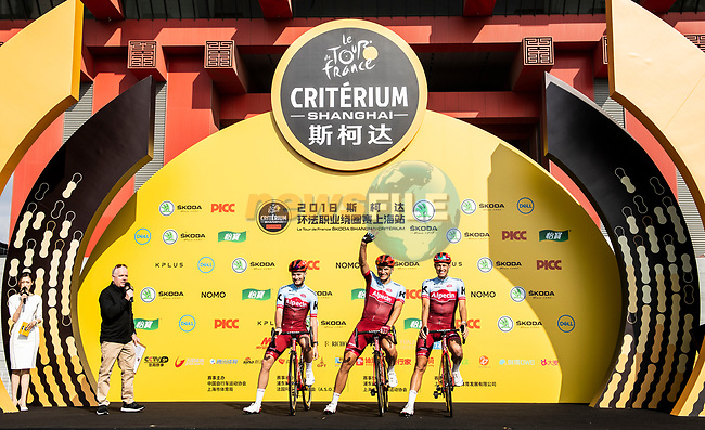 Marcel Kittel (GER)and Katusha Alpecin team mates at the team presentation before the start of the 2018 Shanghai Criterium, Shanghai, China. 17th November 2018.<br /> Picture: ASO/Alex Broadway | Cyclefile<br /> <br /> <br /> All photos usage must carry mandatory copyright credit (© Cyclefile | ASO/Alex Broadway)