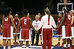 21 March 2014: Oklahoma head coach Sherri Coale (center) talks to her team. The University of Oklahoma Sooners held a training session the day before playing in an NCAA Division I Women's Basketball Tournament First Round game at Cameron Indoor Stadium in Durham, North Carolina.