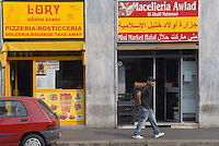 - Milan, arab food stores in Padova street....- Milano, negozi arabi di alimentari in via Padova