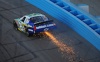Nov. 8, 2008; Avondale, AZ, USA; NASCAR Nationwide Series driver Scott Wimmer after blowing a tire during the Hefty Odor Block 200 at Phoenix International Raceway. Mandatory Credit: Mark J. Rebilas-