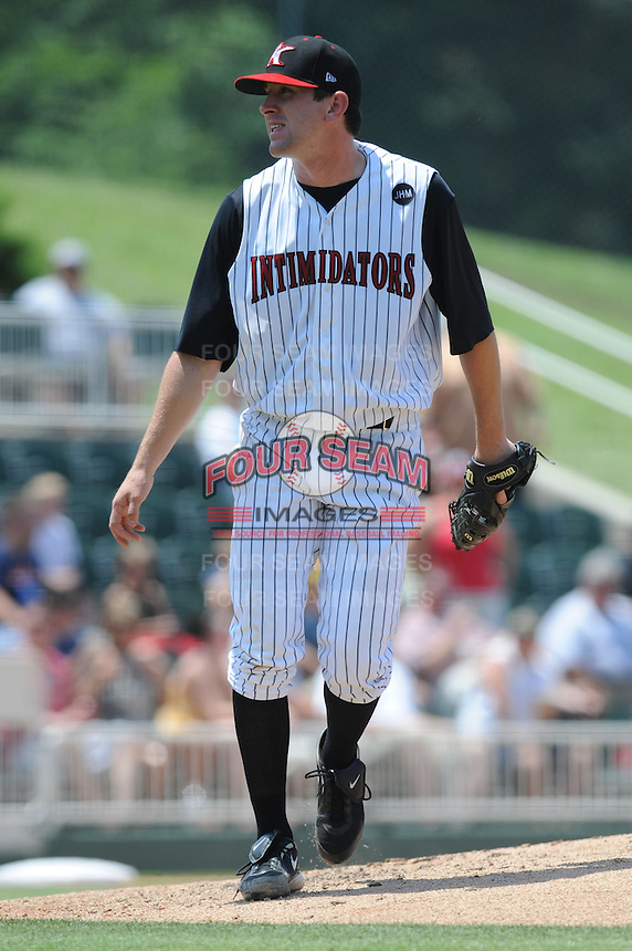 Kannapolis Intimidators Paul Burnside #43 delivers a pitch during a game against the Hagerstown Suns at Fieldcrest Cannon Stadium in Kannapolis,  North Carolina;  May 30, 2011.  The Intimidators won the game 3-0.  Photo By Tony Farlow/Four Seam Images