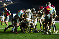 Ashley Johnson of Wasps scores a try in the first half. European Rugby Champions Cup match, between Harlequins and Wasps on January 13, 2018 at the Twickenham Stoop in London, England. Photo by: Patrick Khachfe / JMP