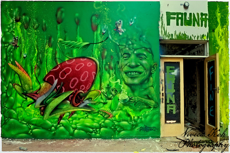 Painting by artist Rocket01 in abandoned building in Sheffield, South Yorkshire