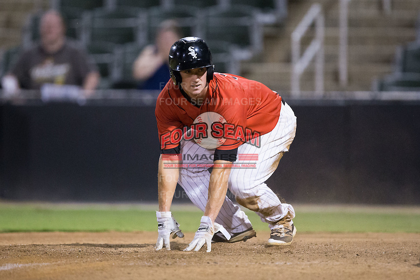 Cody Daily (31) of the Kannapolis Intimidators touches home plate after scoring a run against the West Virginia Power at Kannapolis Intimidators Stadium on August 20, 2016 in Kannapolis, North Carolina.  The Intimidators defeated the Power 4-0.  (Brian Westerholt/Four Seam Images)