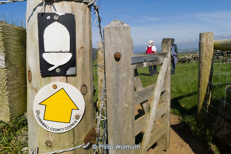 Sign on a gate on the South West Coast Path, Cornwall, Britain?s longest marked footpath.