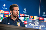 Coach Diego Simeone during Atletico de Madrid's press conference the day before the EUFA Champions League match between Atletico de Madrid and FC. Barcelona at Vicente Calderon in Madrid. April 13, 2016. (ALTERPHOTOS/Borja B.Hojas)