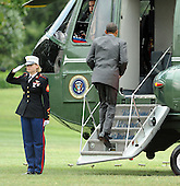 United States President Barack Obama boards Marine One as he departs on the South Lawn of the White House en route to Martha's Vineyard for a ten day vacation on Thursday, August 18, 2011 in Washington..Credit: Roger L. Wollenberg / Pool via CNP