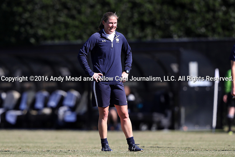 23 October 2016: Notre Dame assistant coach Dawn Siergiej. The Wake Forest University Demon Deacons hosted the University of Notre Dame Fighting Irish at Spry Stadium in Winston-Salem, North Carolina in a 2016 NCAA Division I Women's Soccer match. Notre Dame won the game 1-0.