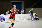 Rüsselsheim, Germany, April 13: Michelle Bartsch #4 of the Rote Raben Vilsbiburg serves the ball during play off Game 1 in the best of three series in the semifinal of the DVL (Deutsche Volleyball-Bundesliga Damen) season 2013/2014 between the VC Wiesbaden and the Rote Raben Vilsbiburg on April 13, 2014 at Grosssporthalle in Rüsselsheim, Germany. Final score 0:3 (Photo by Dirk Markgraf / www.265-images.com) *** Local caption ***