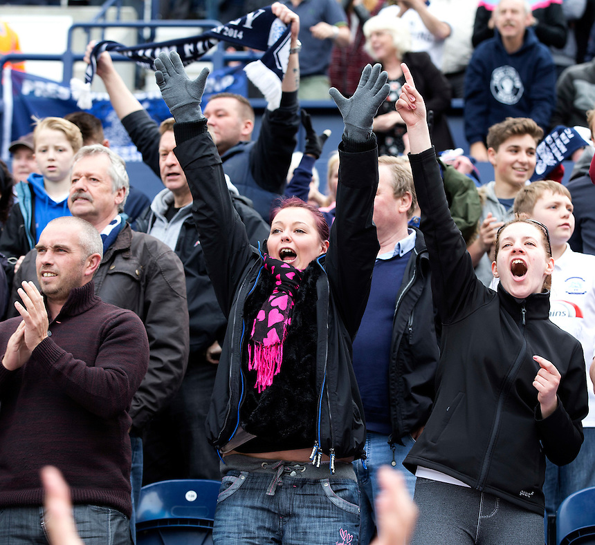 Preston North End fans celebrate their teams second goal<br /> <br /> Photographer Stephen White/CameraSport<br /> <br /> Football - The Football League Sky Bet League One Semi-Final Second Leg - Preston North End -  Chesterfield - Deepdale - Preston<br /> <br /> &copy; CameraSport - 43 Linden Ave. Countesthorpe. Leicester. England. LE8 5PG - Tel: +44 (0) 116 277 4147 - admin@camerasport.com - www.camerasport.com