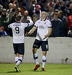 22.11.2019 Linlithgow Rose v Falkirk: Conor Sammon celebrates his second goal for Falkirk with Declan McManus