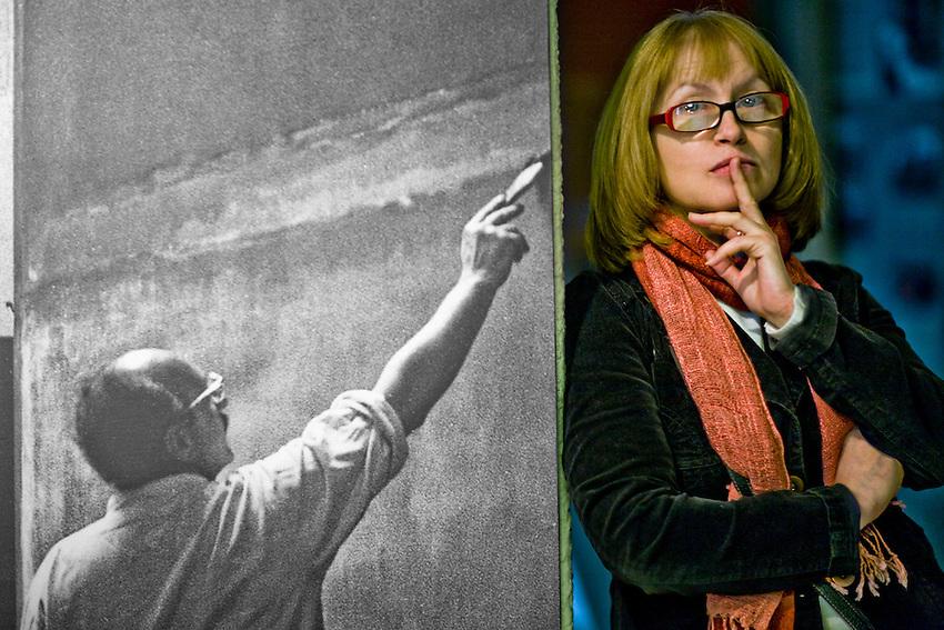 Daugavpils, Latvia. Daugavpils Museum Art Curator Farida Zaletilo at the Daugavpils Museum.