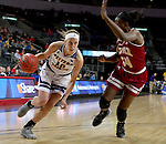 SIOUX FALLS, SD: MARCH 4: Mallory Boyle #10 from Western Illinois drives against Jahla Osborne #34 from Denver on March 4, 2017 during the Summit League Basketball Championship at the Denny Sanford Premier Center in Sioux Falls, SD. (Photo by Dave Eggen/Inertia)