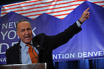Senator Chuck Schumer speaks at a breakfast for New York delegates at the Sheraton Hotel at the start of the Democratic National Convention in Denver, Colorado on August 25, 2008.