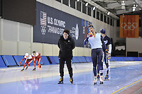 SPEED SKATING: SALT LAKE CITY: 18-11-2015, Utah Olympic Oval, ISU World Cup, training, Desly Hill (trainer/coach) Jan Blokhuijsen (NED), ©foto Martin de Jong