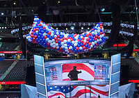 Balloons for the celebration on Thursday night after the Republican Party nominees for Vice President and President of the United States rest in big bags on the floor of the Quicken Loans Arena prior to their being lifted into the ceiling on Friday, July 15, 2016. Photo Credit: Ron Sachs/CNP/AdMedia